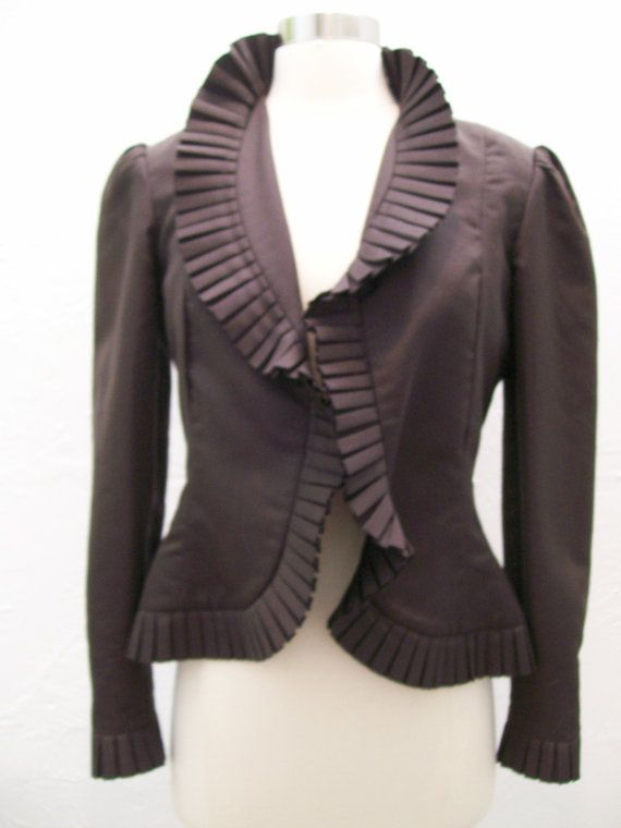 Jean Louis chocolate silk ruffled jacket 1980s S by marcjoseph, $100.00