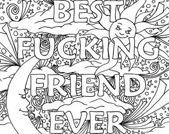 bff coloring pages BFF   Best Fucking Friend Ever   Adult Coloring Page by The Artful  bff coloring pages