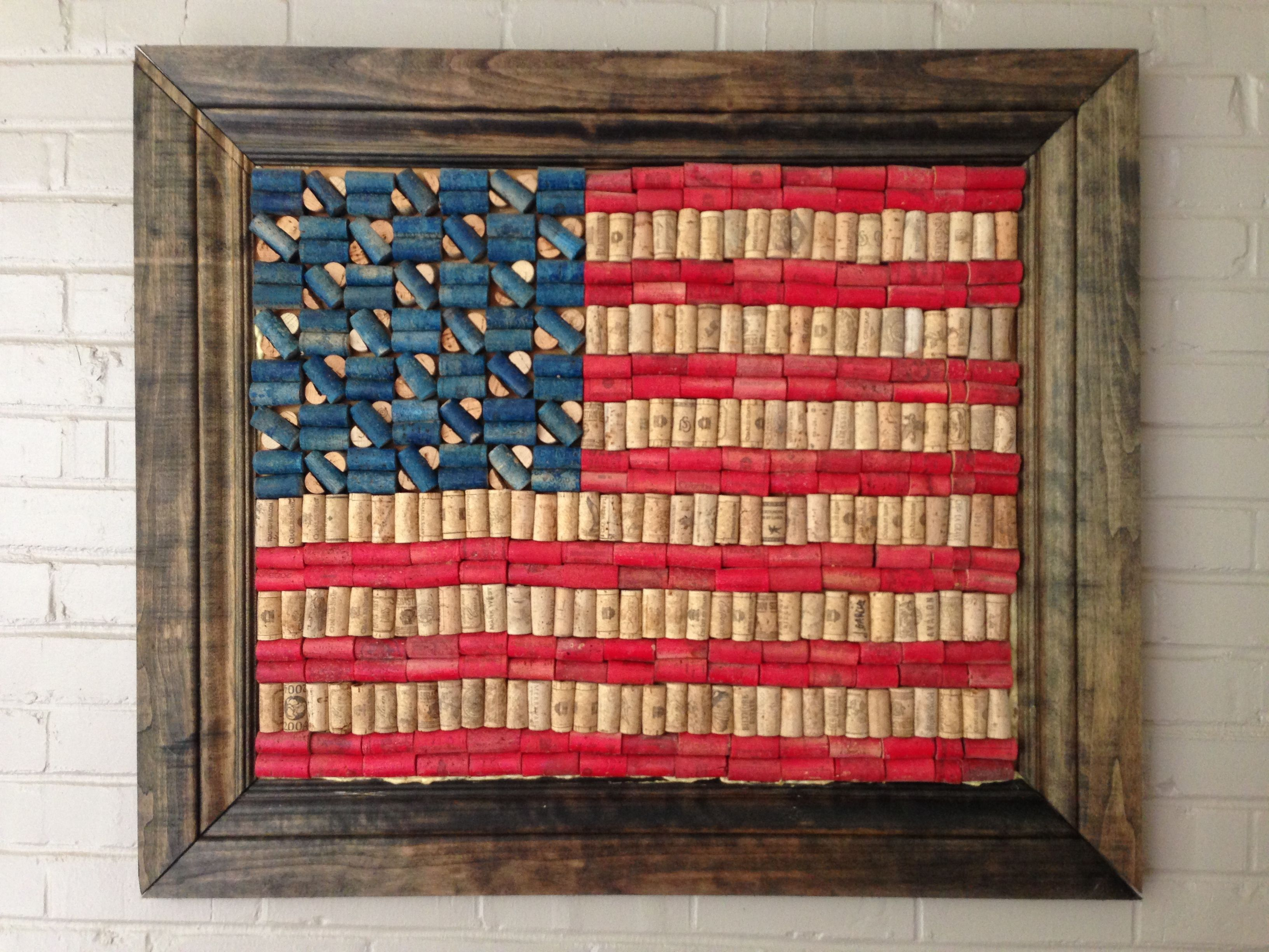 American Flag Made From Wine Corks Perhaps My Next Cork Creation Wine Cork Projects Wine Cork Art Wine Cork Crafts