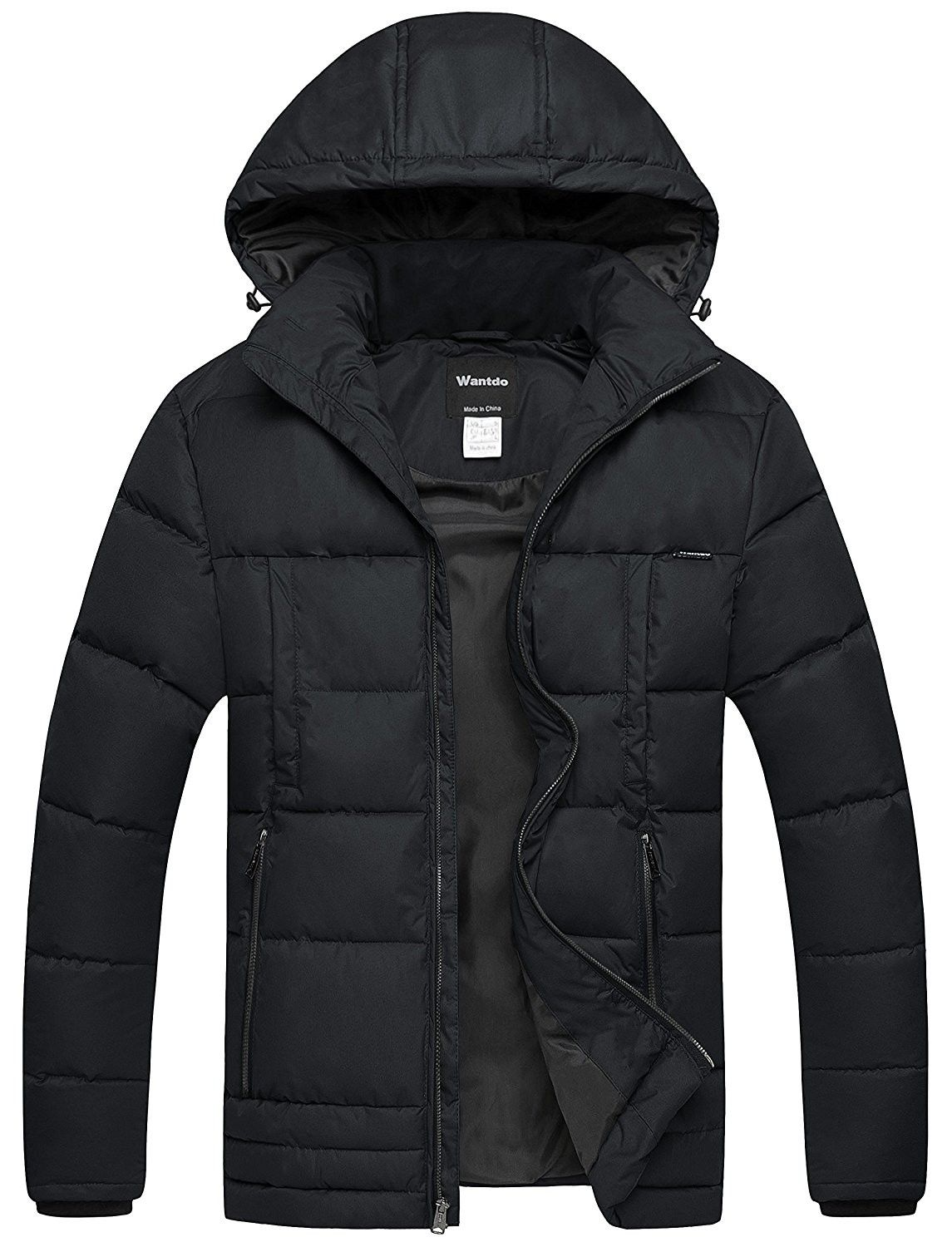 men s puffer coat insulated windproof quilted jacket with on men s insulated coveralls with hood id=94118
