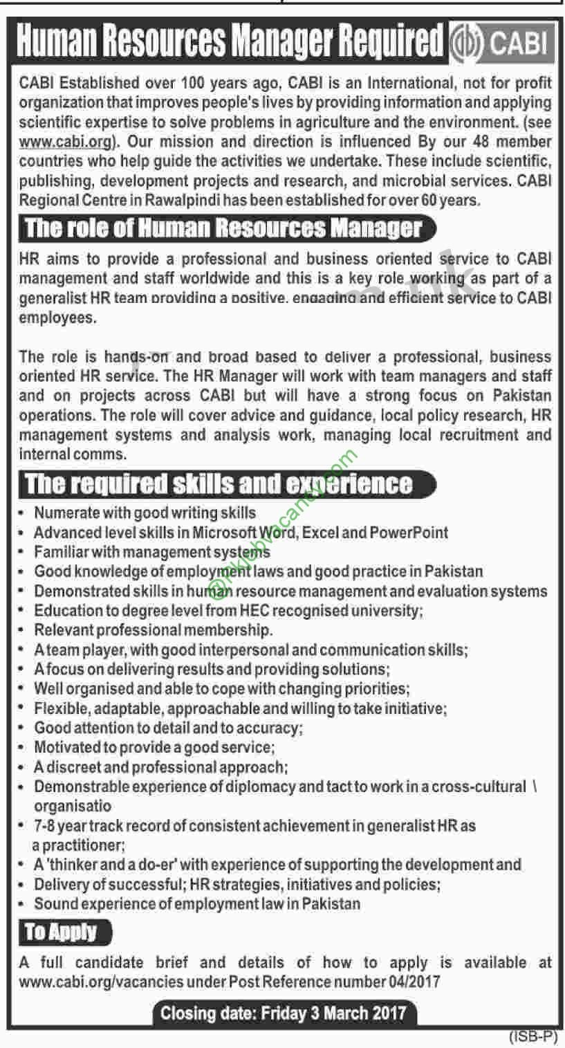 Cabi Ngo Hr Manager Jobs  Latest Advertisement Apply Online