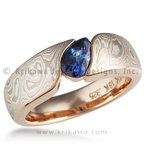 Mokume Wave Engagement Ring - Pear - This engagement ring consists of a band of mokume gane, contoured to a pear-shaped stone. This snag-free ring widens towards the top, to allow for the gemstone to sit flush with the mokume.