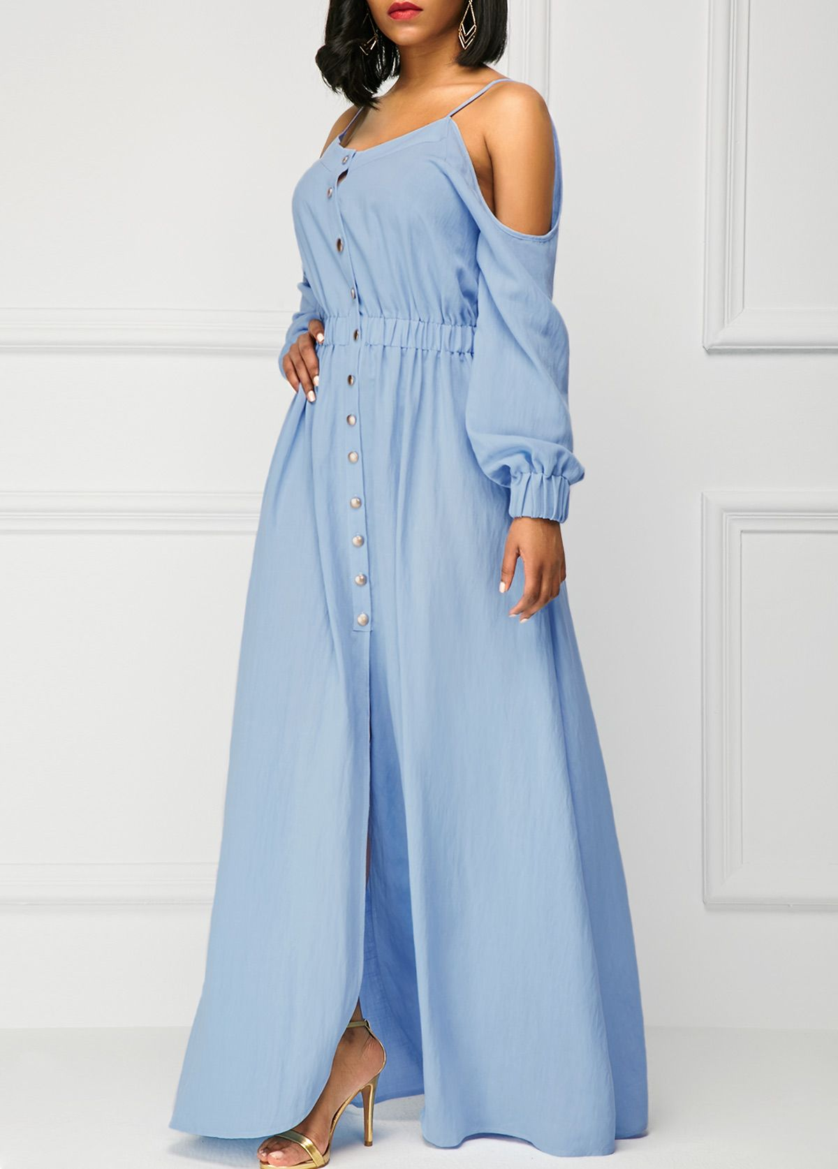 Off the shoulder blue long sleeve maxi dress long sleeve maxi