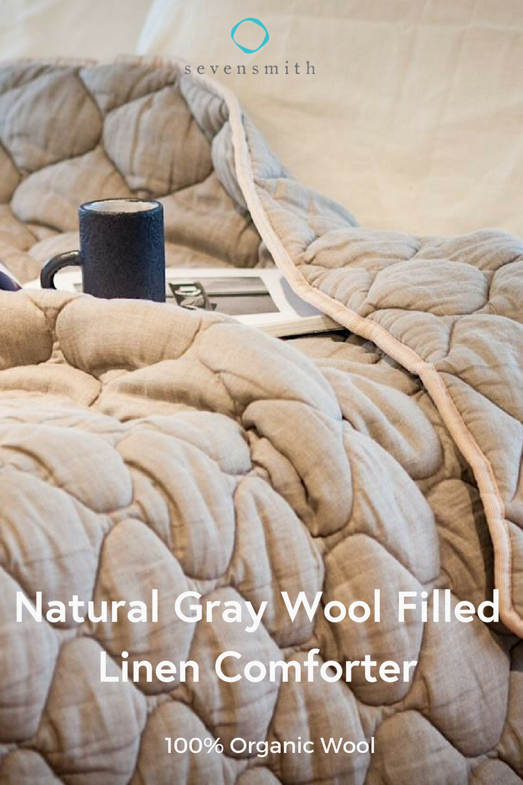 Natural Gray Wool Filled Linen Comforter Our 100 Organic Wool Comforter Is Made With Layers Of Fluffy Wool B Linen Comforter Comforters Organic Cotton Pillows