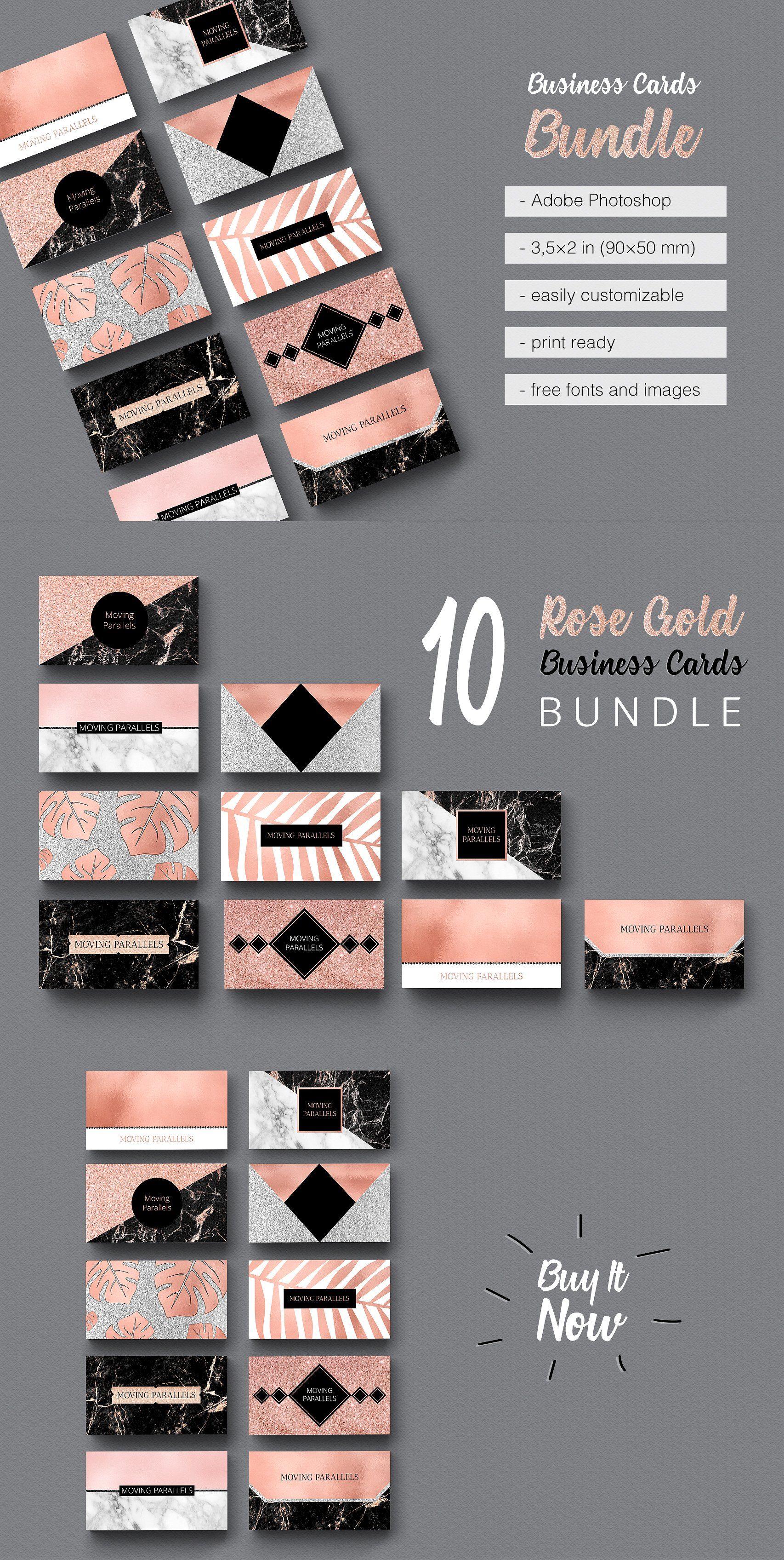 Rose Gold Business Cards Bundle just 18$ on creativemarket Rose