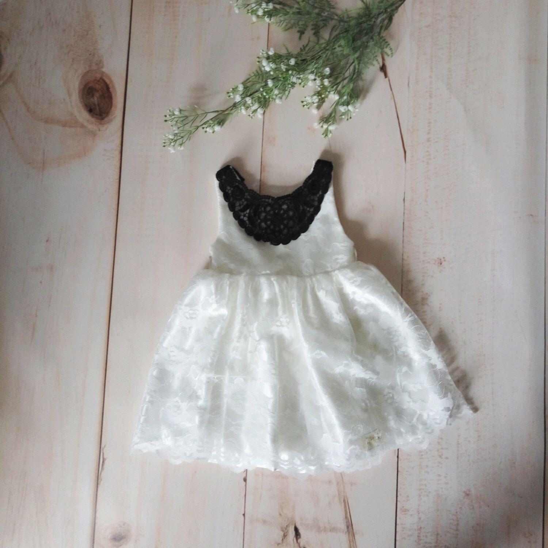 Black And White Flower Girl Dress Ivory White Toddler Dress White