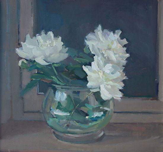 "Peonies Three by Maryann Lucas Oil ~ 21"" x 22"""