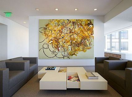 Lovely Abstract Art Wall Stickers Murals In Modern Table And Small Office Interior  Decoration Design Ideas