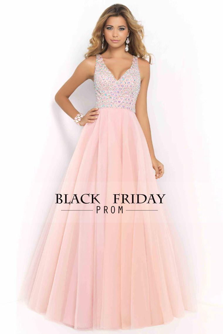 2017 V Neck Prom Dresses A Line Beaded Bodice Tulle Open Back ...
