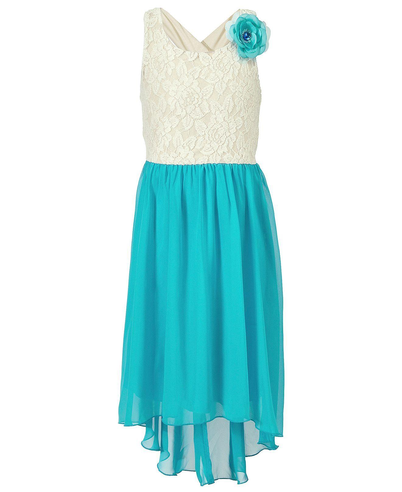 Speechless Girls Dress, Girls Lace-to-Chiffon High-Low Dress - Kids ...