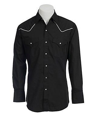 Ely Cattleman Black Western Shirt