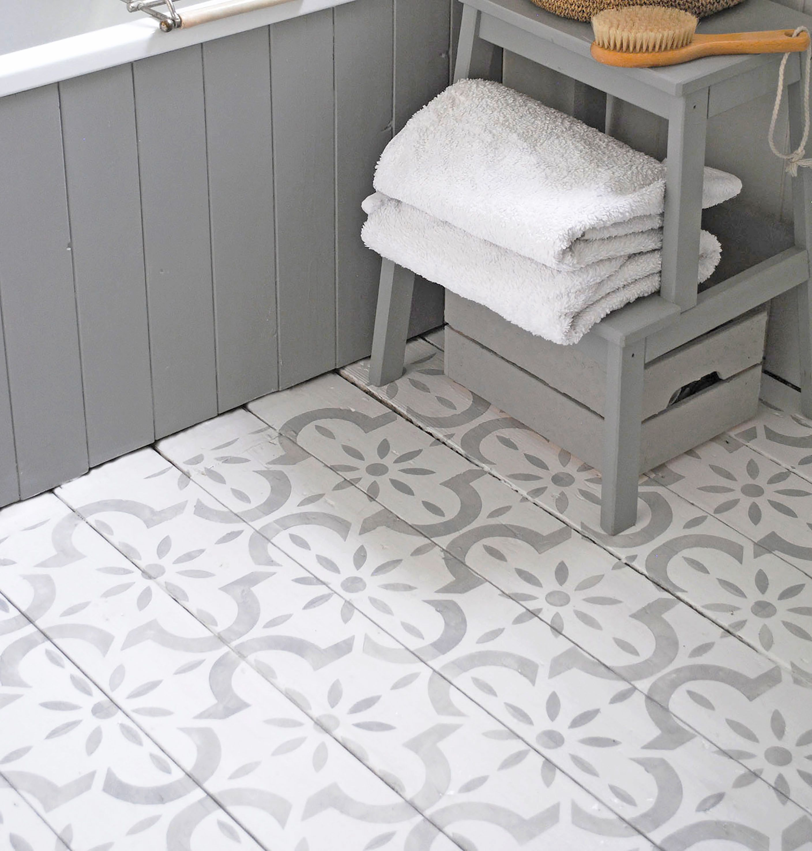 This large tile inspired stencil is perfect for floors for Perfect concrete floors