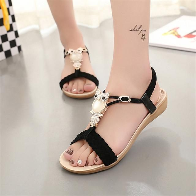 df8f5b3031a Women Sandals Bohemia Style Ankle-strap Flip Flops Summer Flat Ladies Shoes