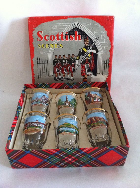 Vintage Drinking Set 'Scottish Scenes' 6 shot/whiskey tot glasses, 1950s-60s