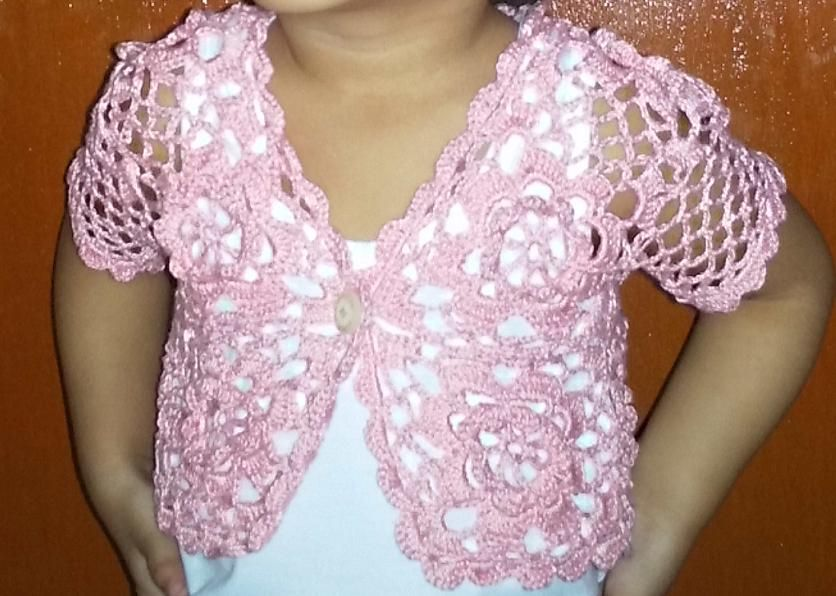 pictures of free crochet patterns | Pink Bolero for 2 year old ...