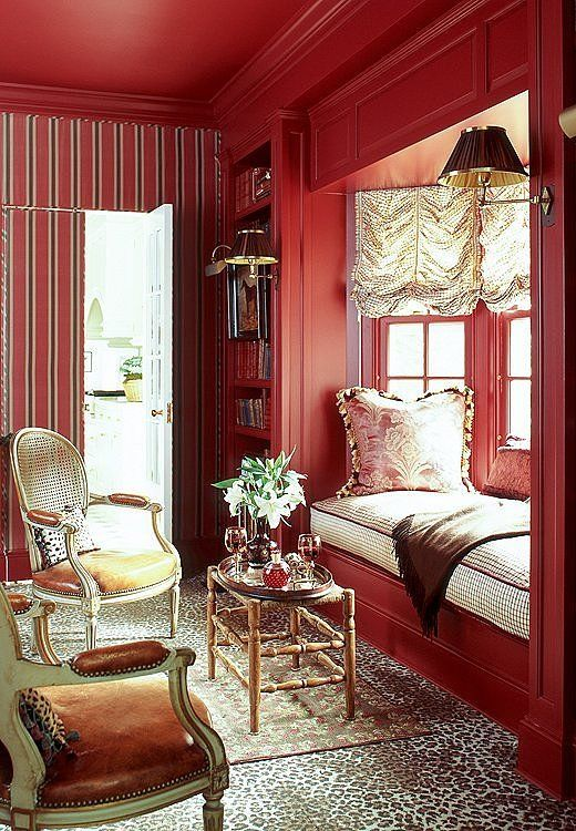 Deep reds make a room feel rich and warm