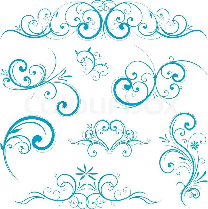 Schnorkel Rahmen Blau Stock Vektor Ornamente Vorlagen Muster Tattoos Schablonen Vorlagen