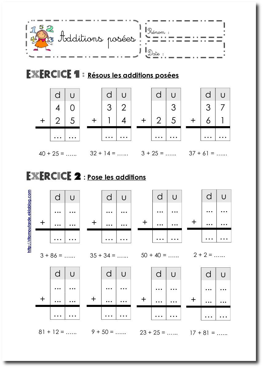 Fiches Additions posées sans retenue   Maths ce1, Exercice ce1 à imprimer et Exercice ce1