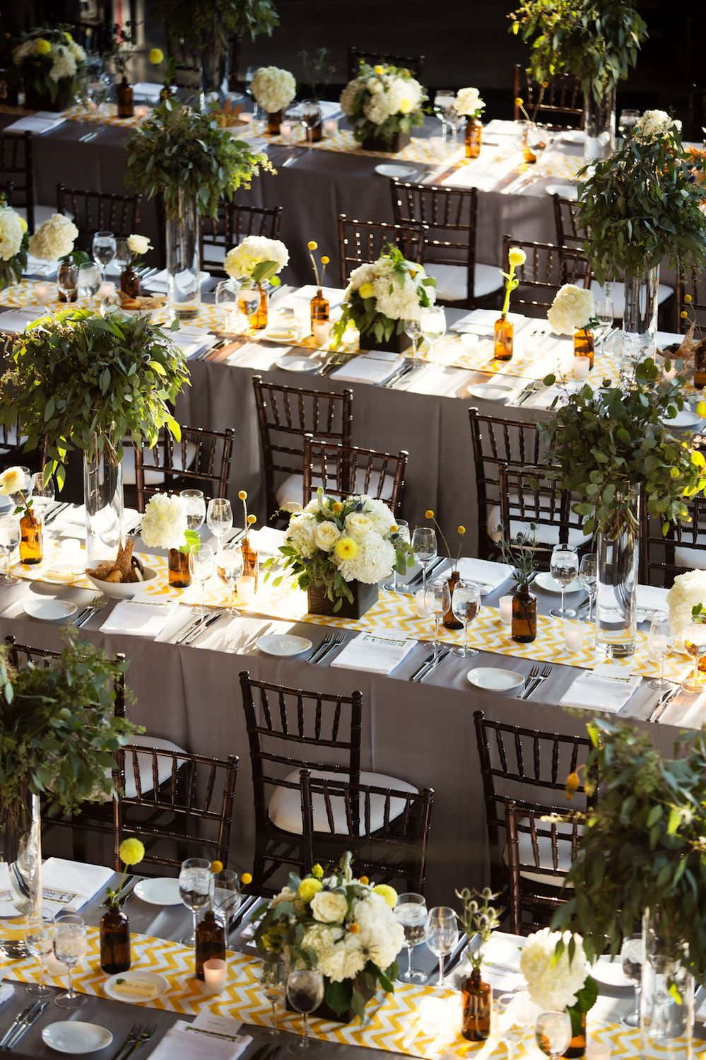 Wedding decorations yellow and gray  Planning Design Lustre Events Photography by Roots Photography