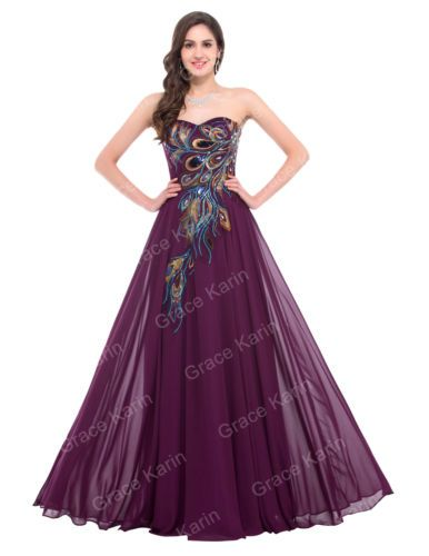 8cf3d5a976d Grace-Karin-Lang-Pfau-Abendkleid-Ballkleid-Brautkleid-Hochzeit-UBERGROssE- Kleid