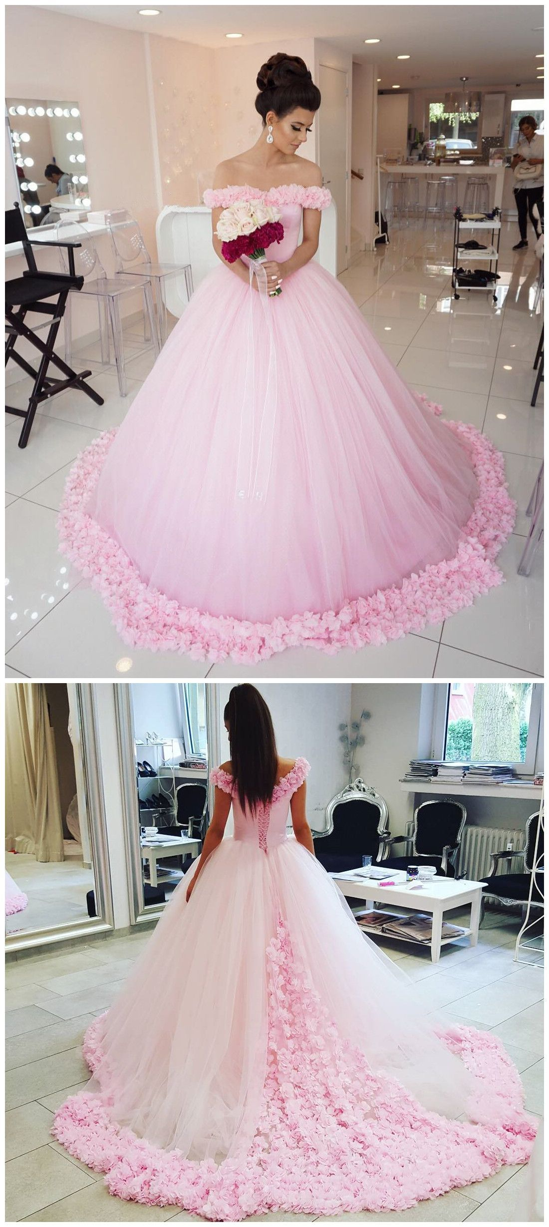 New arrival prom dressmodest prom dresssparkly flower party
