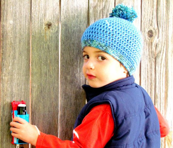Toddler Boy Blue Crochet Hat With Pom Pom  Select by FairyOfColor, $18.00