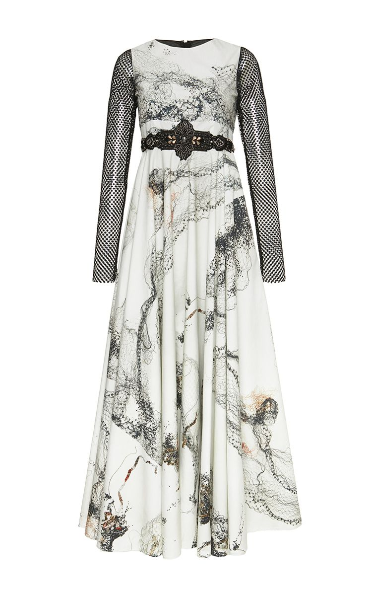 Long sleeve printed full length dress by antonio marras for preorder