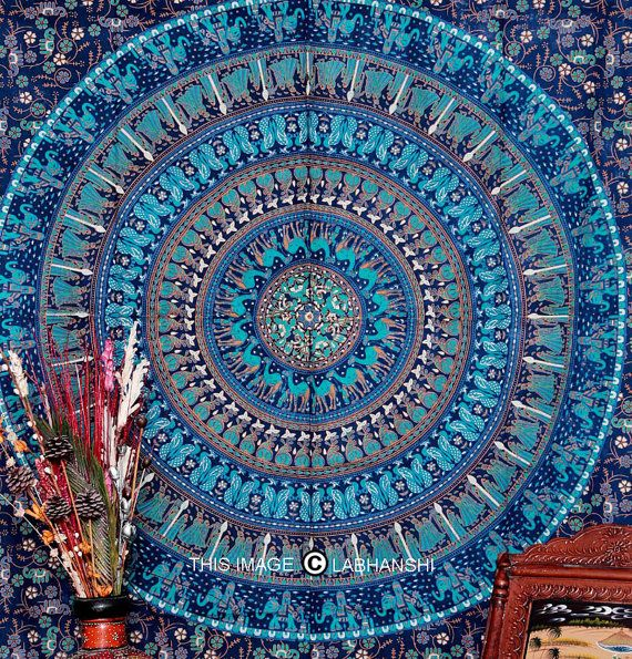 Bohemian Tapestry Wall Hanging blue camle mandala tapestry indian hippie walllabhanshi