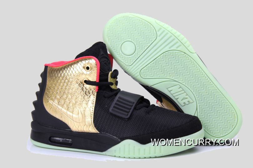 "27b6e08f5fd23 Glow In The Dark ""Imperial"" Nike Air Yeezy 2 Black Gold Cheap To Buy ..."