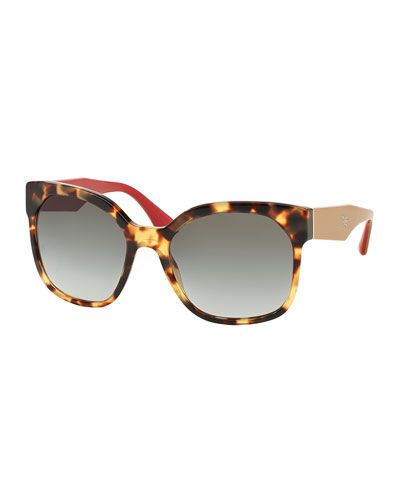 05fa7a145a Prada Square Sunglasses with Colored Arms in Havana at Neiman Marcus ...