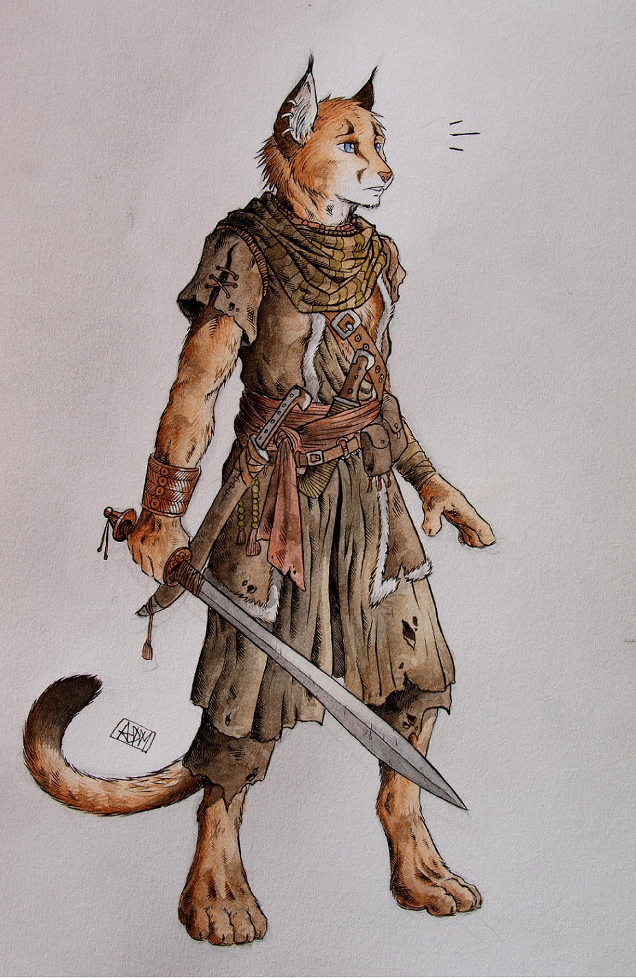 Character Concept Areksim by 0laffson cat fighter