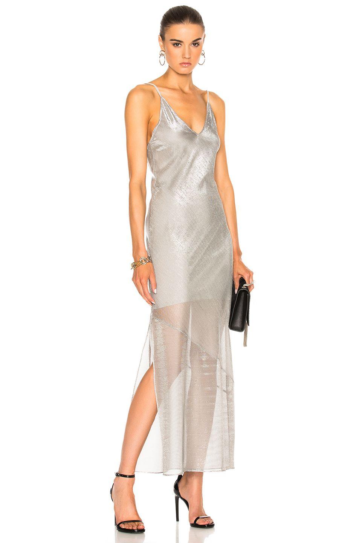 Image 1 of fleur du mal long slip dress in platinum long