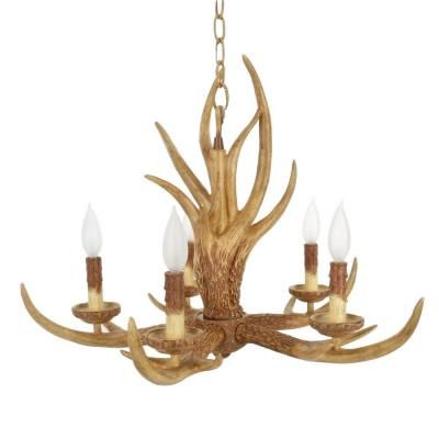 Hampton Bay 5-Light Natural Antler Hanging Chandelier | Antlers ...