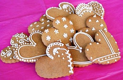 Gingerbread heart cookies.  Simple but pretty