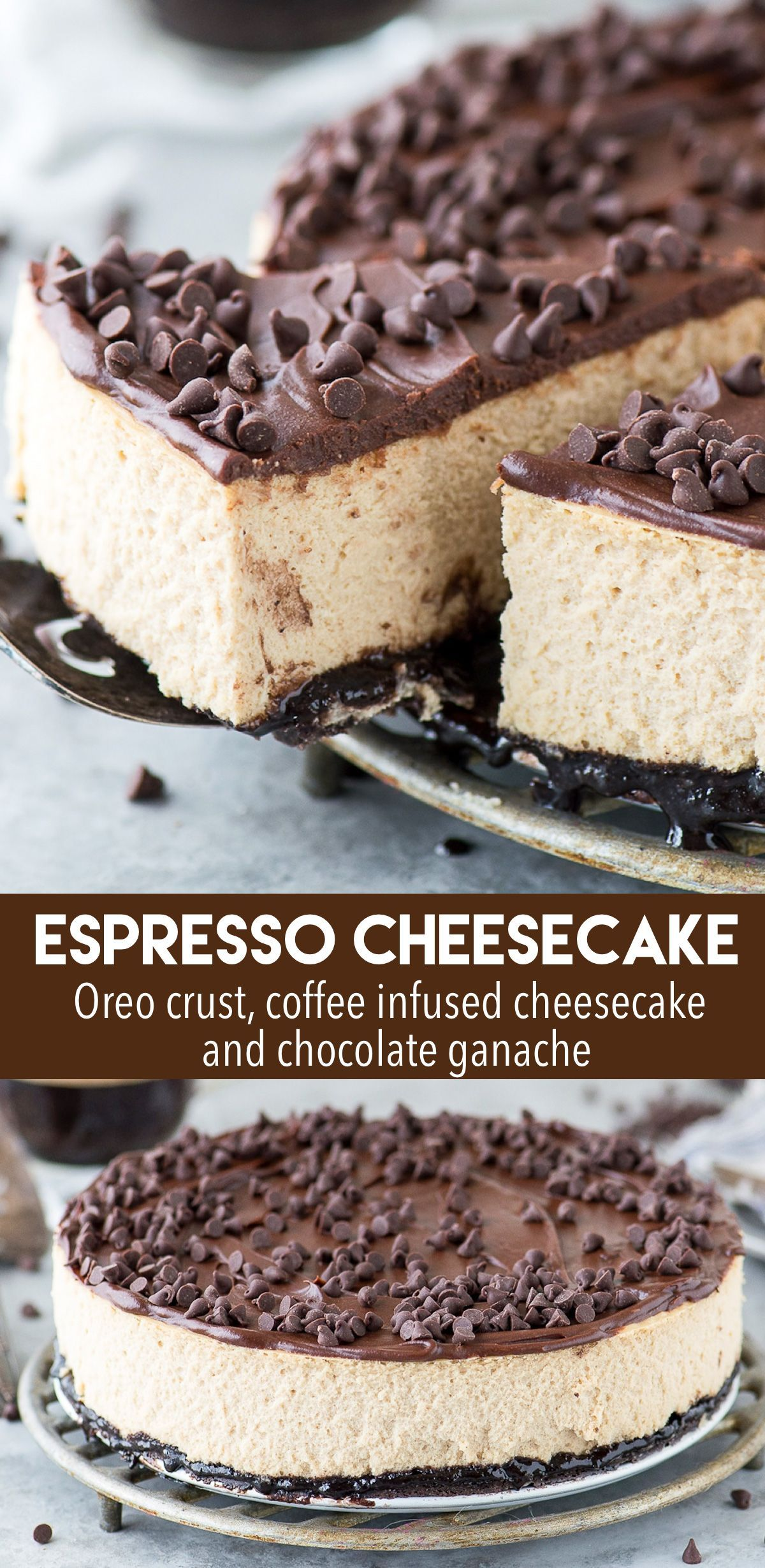 Espresso Cheesecake #cheesecake The most amazing espresso coffee cheesecake with an oreo crust and a layer of chocolate ganache! This cheesecake has real espresso in it for BIG coffee flavor! #cheesecake #espressocheesecake #coffeecheesecake #espressocoffee