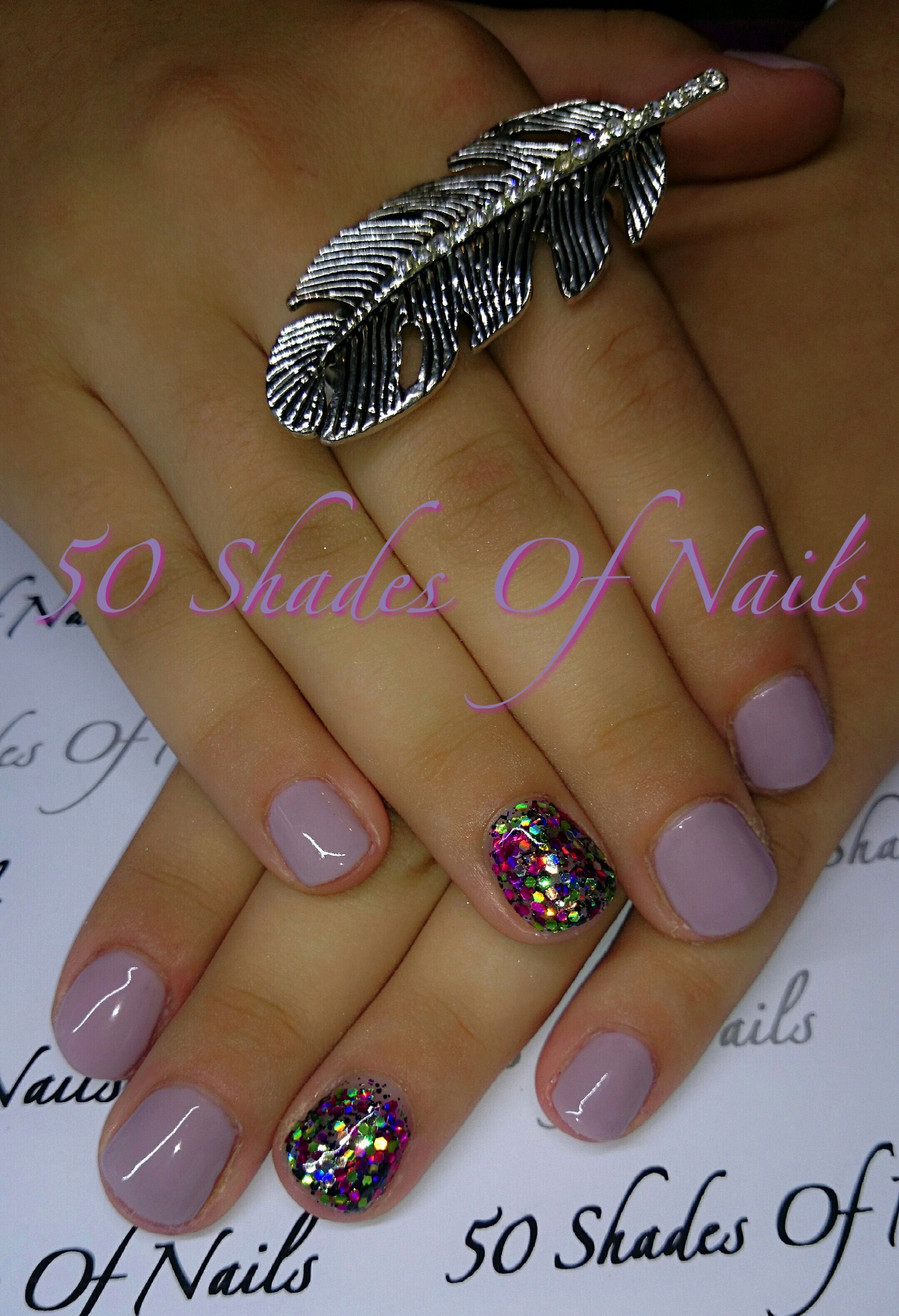 Bio Sculpture Gel - nail art | purple | glitter | sparkle | rainbow | feather ring