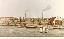 Colored lithograph of Washington Navy Yard, c. 1862