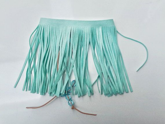 Light green suede upper arm bracelet, mint green armlet with fringes from SpectralStories