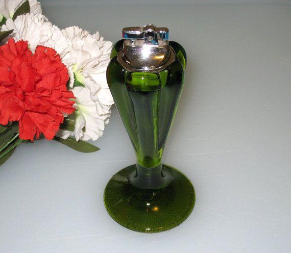 Viking Green Art Glass Fortune Table Lighter/ 6 Petal 1966 Design by CookieGrandma60, $28.95
