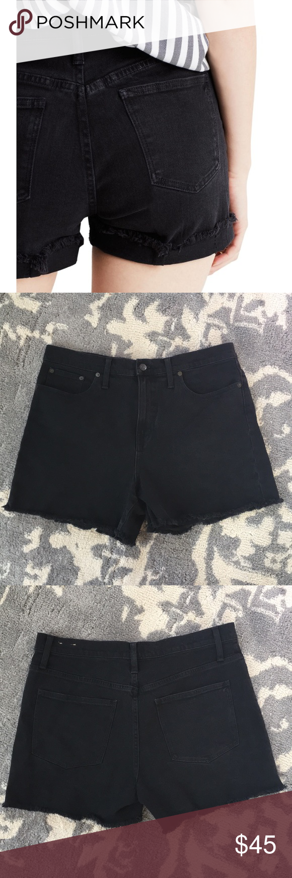 """09a3f628be Madewell High Rise Black Denim Shorts Excellent preowned condition Madewell  Denim Shorts Raw Hem 4"""" inseam Style C1732 99% Cotton 1% Elastane No Trades  ..."""
