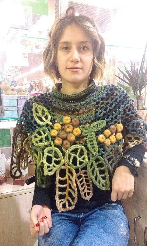 Umhang Schal Poncho Irische Häkeln Blätter Eberesche Tolle