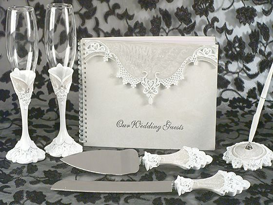 Elegance By Carbonneau Lovely Victorian Lace Toasting Flutes Cake Server Guestbook Pen Set