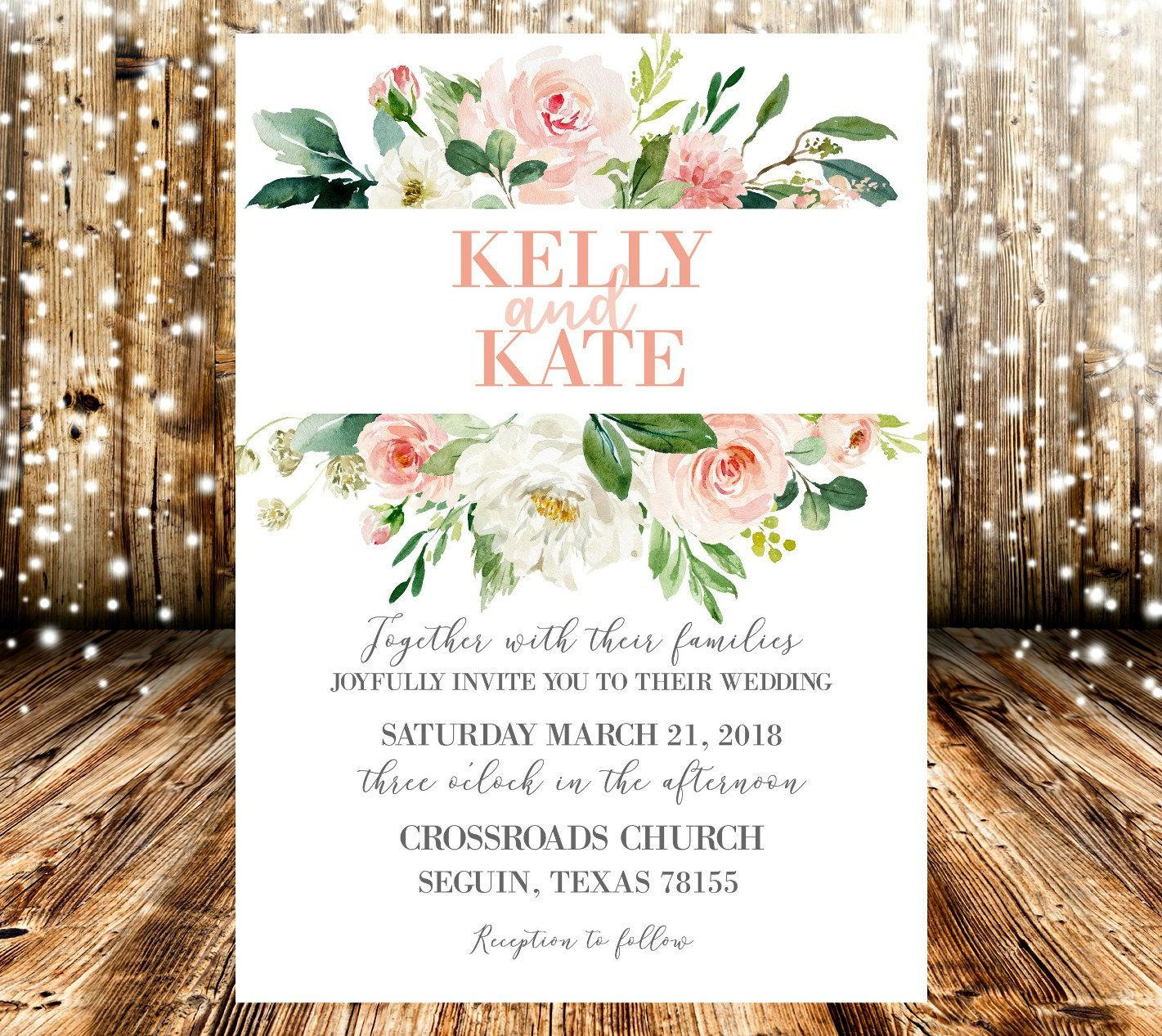 Pink Peach White Watercolor Floral Wedding Invitation | Select ...