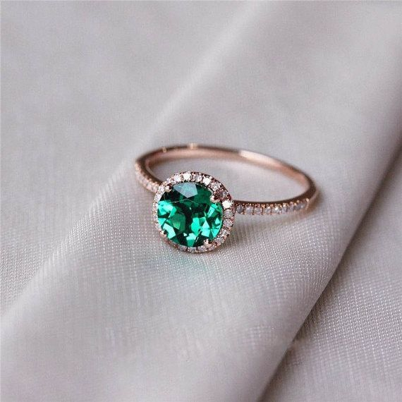 ring pave emerald cheap rings engagement petite diamond cut