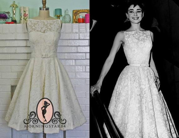 Audrey Wedding Dress -Oscar Dress In Lace- Short Wedding Dress 1950s ...