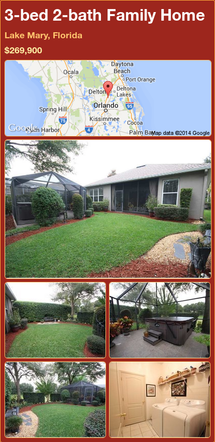 3-bed 2-bath Family Home in Lake Mary, Florida ►$269,900 #PropertyForSale #RealEstate #Florida http://florida-magic.com/properties/71592-family-home-for-sale-in-lake-mary-florida-with-3-bedroom-2-bathroom