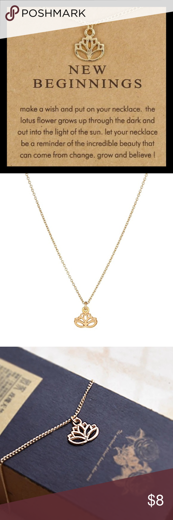 New New Beginnings Lotus Flower Necklace Boutique