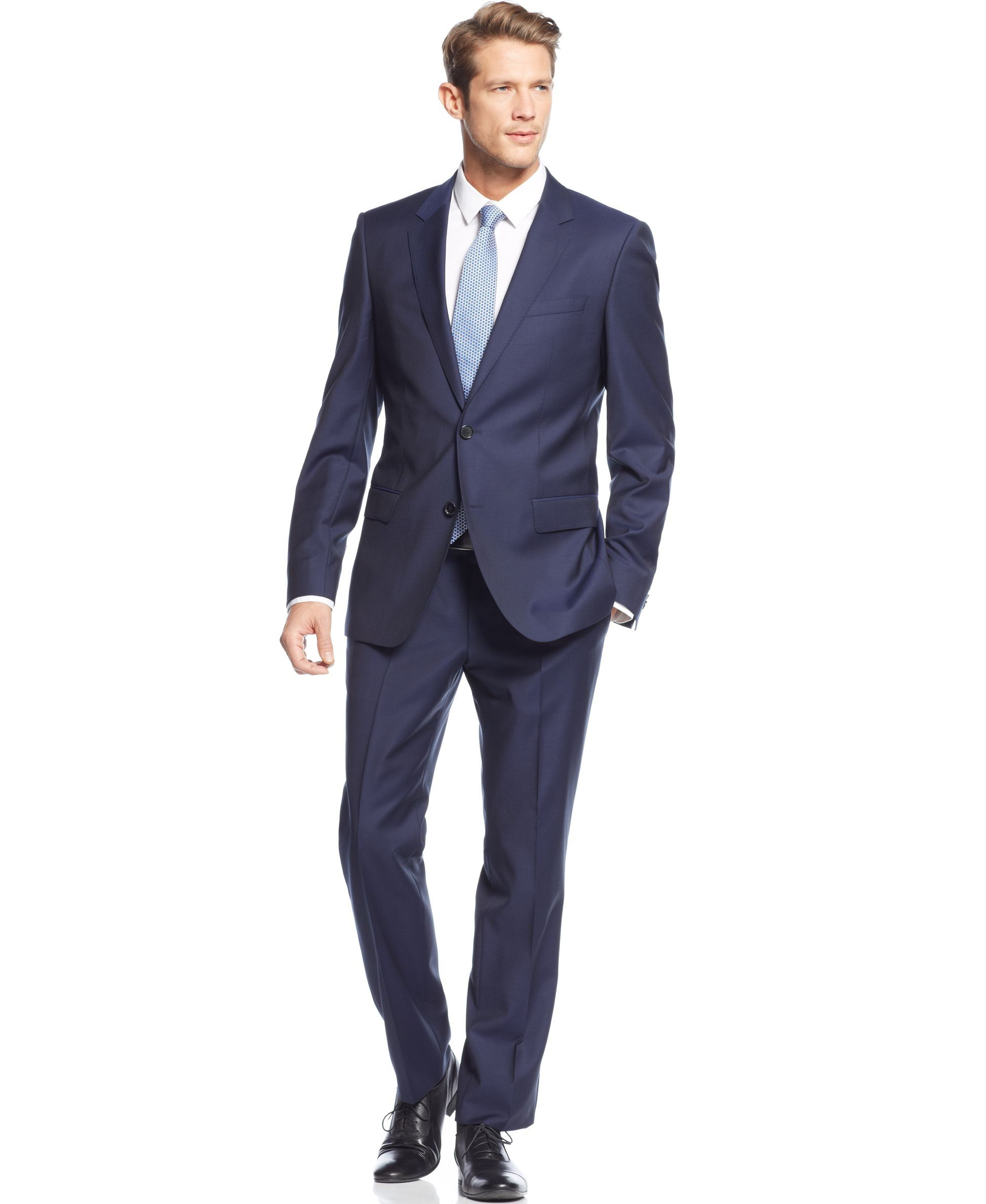 011f5a4805 Boss Hugo Boss Navy Solid Slim-Fit Suit | Products | Fitted suit ...
