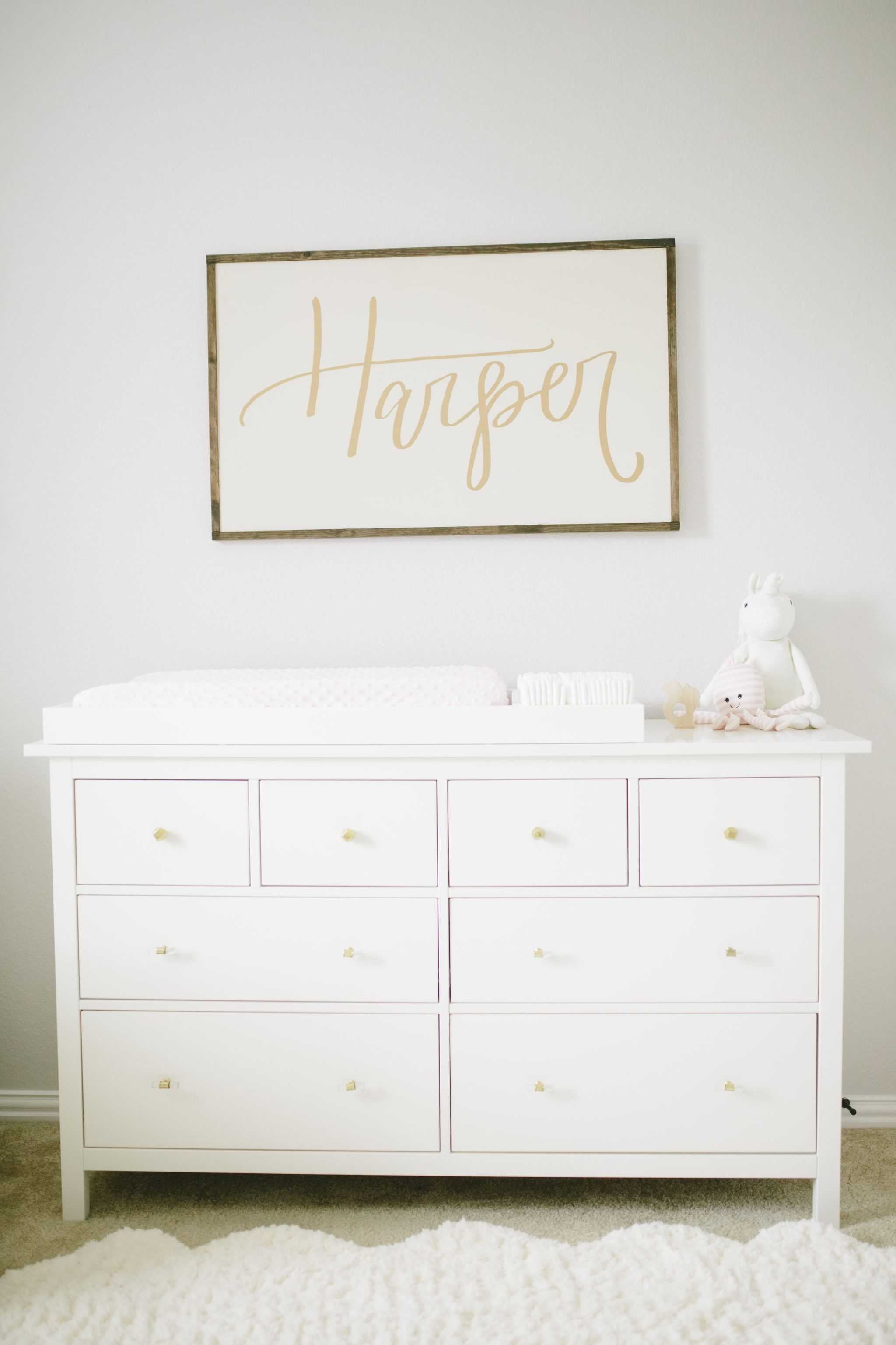 Project Nursery Painted Name Sign Over Dresser