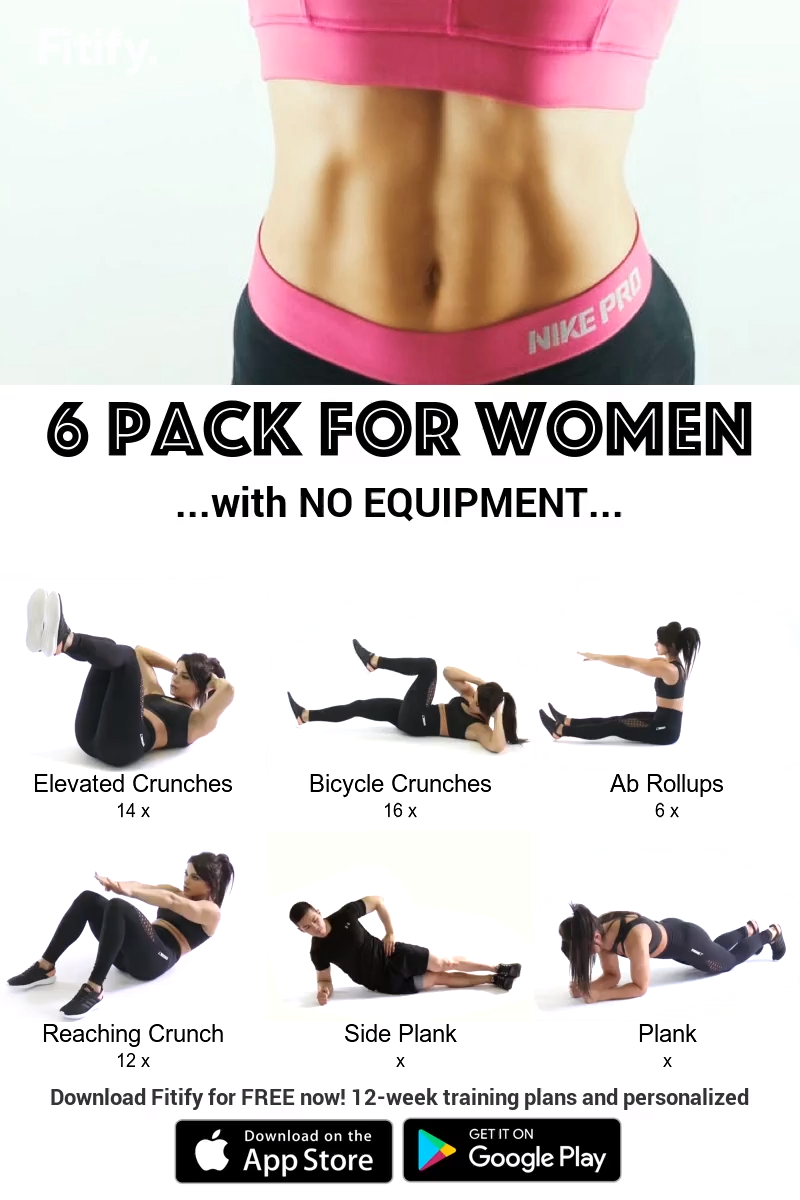 Six Pack Routine with NO Equipment for WOMEN NO EQUIPMENT Flat belly Routine Ab workout that will ge...
